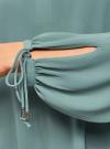 Блузка свободного силуэта с завязками на манжетах oodji #SECTION_NAME# (зеленый), 21414003/42543/6C00N - вид 5