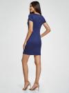 Платье приталенное с металлическим декором на плечах oodji #SECTION_NAME# (синий), 14001177/18610/7500N - вид 3