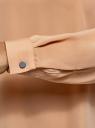 Блузка прямого силуэта с отложным воротником oodji для женщины (бежевый), 11411181/43414/3529B