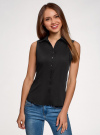 Рубашка базовая без рукавов oodji #SECTION_NAME# (черный), 14905001-1B/12836/2900N - вид 2