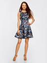 Платье приталенное с расклешенной юбкой oodji #SECTION_NAME# (синий), 11902151/24393/7419U - вид 2