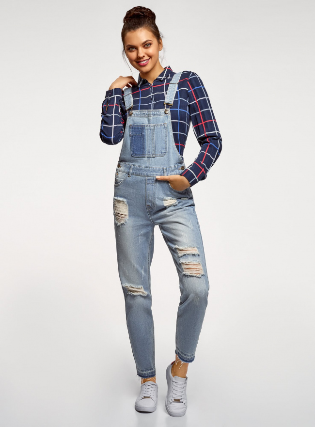 Комбинезон джинсовый с отделкой в стиле пэчворк oodji #SECTION_NAME# (синий), 13108002-1/45254/7000W