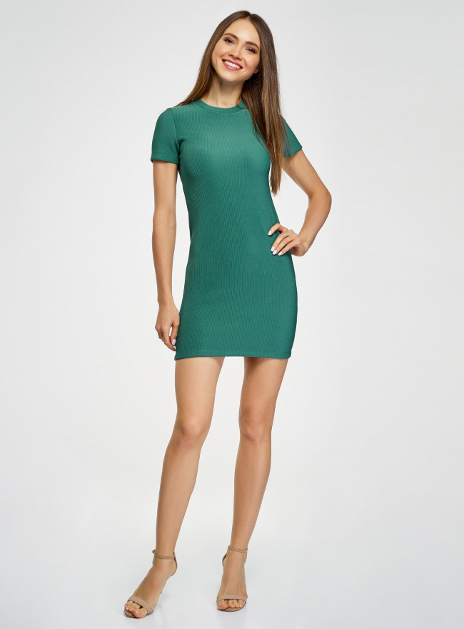 Платье трикотажное с коротким рукавом oodji #SECTION_NAME# (зеленый), 14011007/45262/6E00N