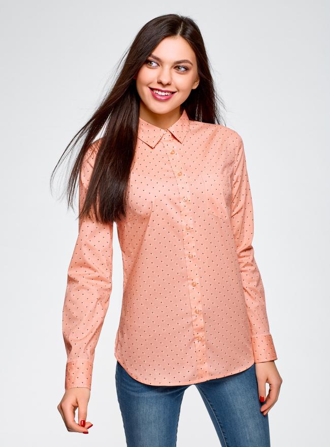 Рубашка базовая из хлопка oodji для женщины (оранжевый), 13K03007B/26357/5429O
