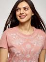 Футболка хлопковая с вышивкой oodji для женщины (розовый), 24708003-29/46154/4B12P