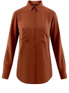 Блузка базовая из вискозы с карманами oodji #SECTION_NAME# (коричневый), 11400355-4/26346/3900N
