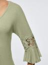 Блузка трикотажная с кружевными вставками на рукавах oodji #SECTION_NAME# (зеленый), 11308096/43222/6000N - вид 5
