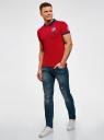 Поло из ткани пике с вышивкой на спине oodji для мужчины (красный), 5L412287M/34522N/4579B