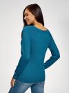 Джемпер базовый с круглым вырезом oodji для женщины (синий), 63812571-1B/46192/756DM - вид 3