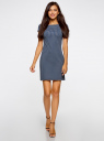 Платье трикотажное принтованное oodji #SECTION_NAME# (синий), 14001117-7/16564/7512G - вид 2
