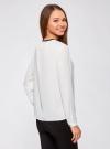 Блузка из струящейся ткани с контрастной отделкой oodji #SECTION_NAME# (белый), 11411059B/43414/1200N - вид 3