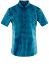 Рубашка приталенная в клетку oodji #SECTION_NAME# (бирюзовый), 3L240005M/39767N/7679C