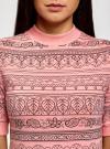 Платье трикотажное с воротником-стойкой oodji #SECTION_NAME# (розовый), 14001229/47420/4A29E - вид 4