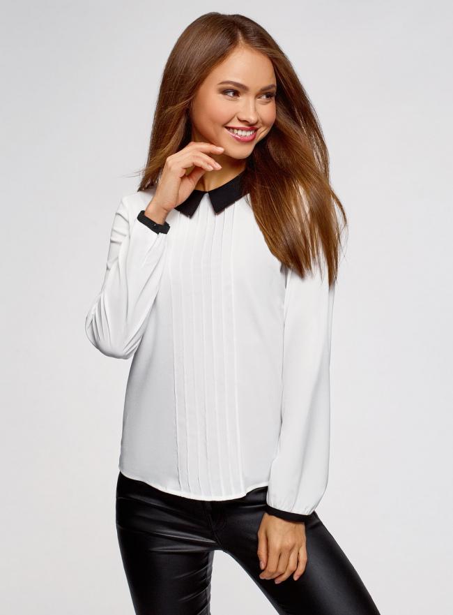 Блузка из струящейся ткани с контрастным воротником oodji #SECTION_NAME# (белый), 11411117-1B/48853/1229B