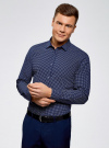 Рубашка базовая из хлопка  oodji для мужчины (синий), 3B110026M/19370N/7970G - вид 2