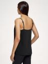 Топ из струящейся ткани на тонких бретелях oodji для женщины (черный), 14911016/48728/2900N