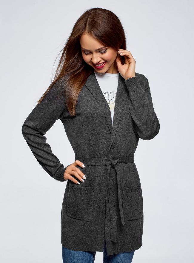 Кардиган с поясом и накладными карманами oodji #SECTION_NAME# (серый), 63212601/43755/2500M