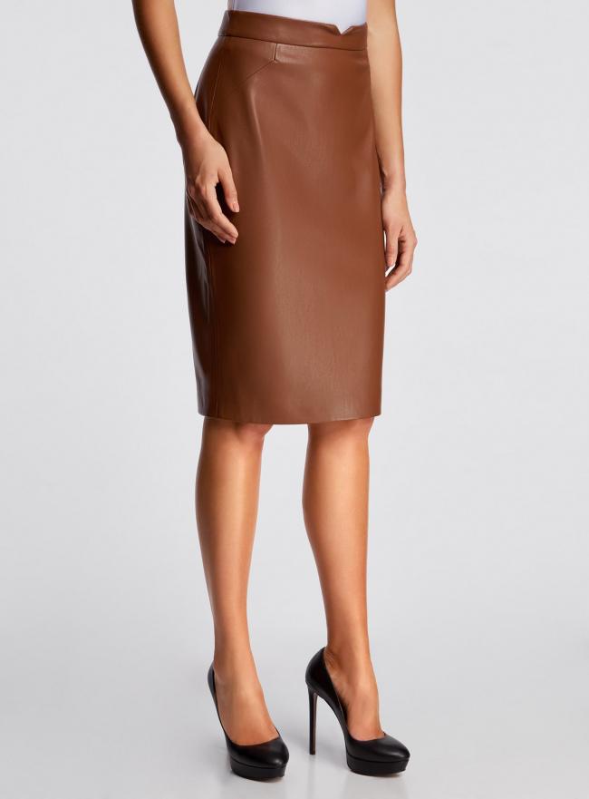 Юбка прямая из искусственной кожи oodji для женщины (коричневый), 21601294/42442/4700N