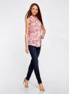 Топ вискозный с нагрудным карманом oodji для женщины (розовый), 11411108B/26346/4041O - вид 6