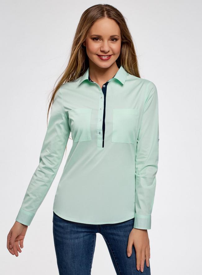 Рубашка приталенная с нагрудными карманами oodji #SECTION_NAME# (зеленый), 11403222-3/42468/6500N