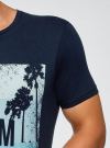 "Футболка хлопковая с принтом ""пальмы"" oodji #SECTION_NAME# (синий), 5L611373M/39485N/7975P - вид 5"