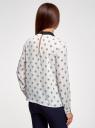 Блузка прямого силуэта с отложным воротником oodji #SECTION_NAME# (белый), 11411181/43414/3029U - вид 3