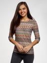 Футболка из ажурной ткани с рукавом 3/4 oodji для женщины (коричневый), 14801021-9B/45509/8030E