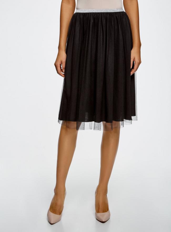 Юбка-пачка на эластичном поясе oodji для женщины (черный), 13G00006/47324/2900N