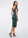 Платье миди с вырезом на спине oodji для женщины (зеленый), 24001104-5B/47420/6C00N