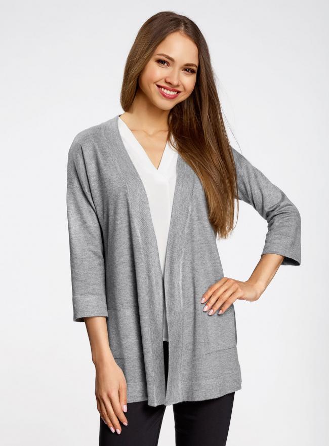 Кардиган без застежки с декоративными карманами oodji для женщины (серый), 73212397/45904/2300M