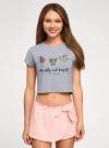 Пижама хлопковая с принтом oodji для женщины (серый), 56002230-3/46154/2040Z - вид 2