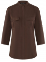 Блузка вискозная с нагрудными карманами oodji #SECTION_NAME# (коричневый), 11403225-7B/42540/3900N