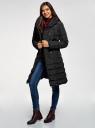 Пальто стеганое с объемным воротником oodji для женщины (черный), 10204049-1B/24771/2900N