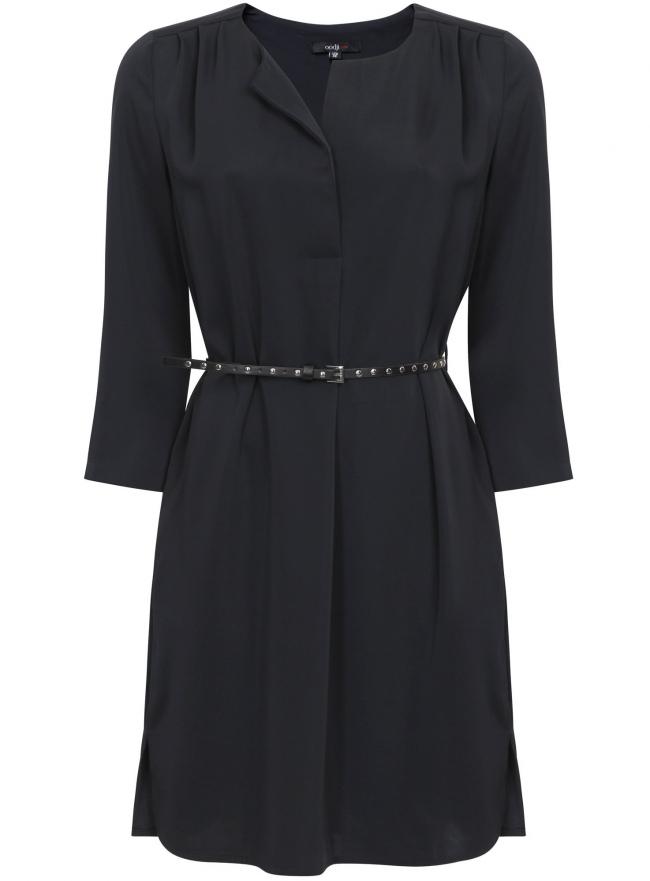Платье из струящейся ткани с ремнем oodji для женщины (черный), 11900180-2M/42720/2900N