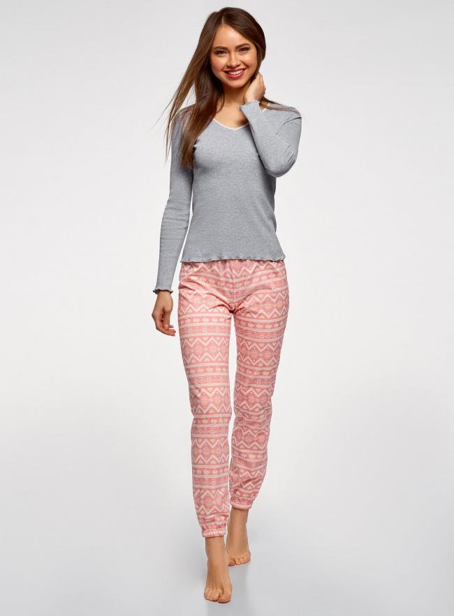 Пижама хлопковая с брюками oodji #SECTION_NAME# (разноцветный), 56002226/46154/2041E