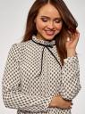 Блузка с декоративными завязками и оборками на воротнике oodji #SECTION_NAME# (бежевый), 11411091-2/36215/4029E - вид 4