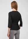 Блузка приталенная с отделкой из искусственной кожи oodji #SECTION_NAME# (черный), 21400365/38238/2900N - вид 3