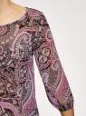 Блузка принтованная из шифона oodji #SECTION_NAME# (розовый), 21404007/15018/2341E - вид 5