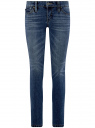 Джинсы push-up с декоративной молнией на кармане oodji #SECTION_NAME# (синий), 12103157/46341/7500W