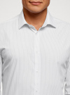 Рубашка приталенного силуэта с длинным рукавом oodji для мужчины (белый), 3L110368M/49382N/1029S - вид 4
