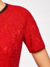 Платье приталенное кружевное oodji #SECTION_NAME# (красный), 11900213/45991/4500L - вид 5