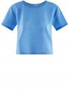 Футболка укороченная из ткани в полоску oodji #SECTION_NAME# (синий), 15F01002-2/46690/7500N