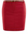 Юбка короткая хлопковая с ремнем oodji #SECTION_NAME# (красный), 11600397B/14522/4500N