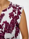 Блузка принтованная из вискозы с двумя карманами oodji #SECTION_NAME# (розовый), 21412132/24681/4C10F - вид 5