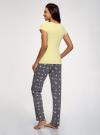 Пижама хлопковая с брюками oodji для женщины (желтый), 56002074-1/46158/5025P - вид 3