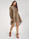 Платье шифоновое с асимметричным низом oodji для женщины (бежевый), 11913032/38375/3329A - вид 6