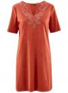 Платье из искусственной замши с декором из металлических страз oodji #SECTION_NAME# (красный), 18L01001/45622/3100N