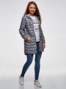 Куртка удлиненная с асимметричным низом oodji #SECTION_NAME# (серый), 10203056-2B/42257/2510G - вид 6