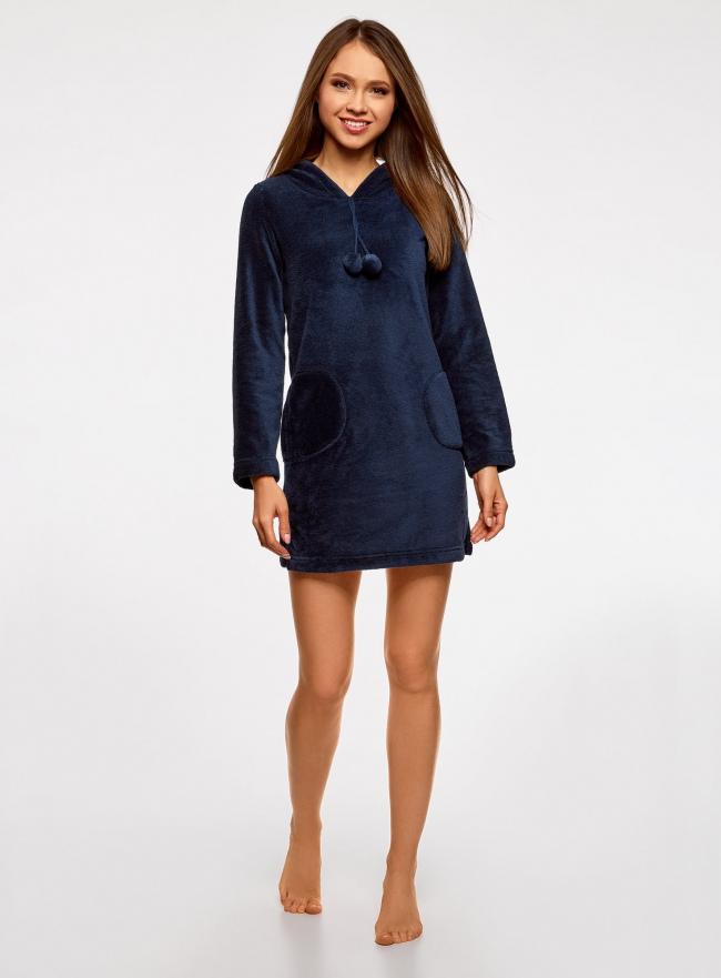 Платье домашнее с капюшоном oodji для женщины (синий), 59801004-2/38319/7900N