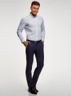 Рубашка базовая приталенная oodji для мужчины (белый), 3B110019M/44425N/1075G - вид 6